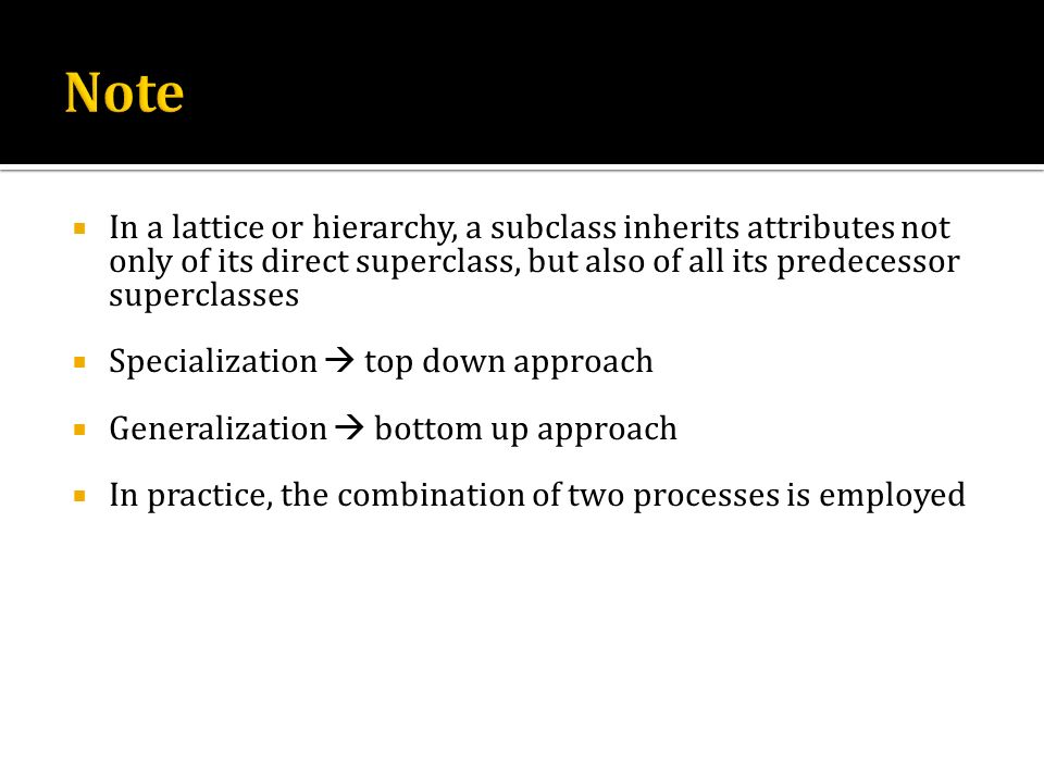 Note In a lattice or hierarchy, a subclass inherits attributes not only of its direct superclass, but also of all its predecessor superclasses.