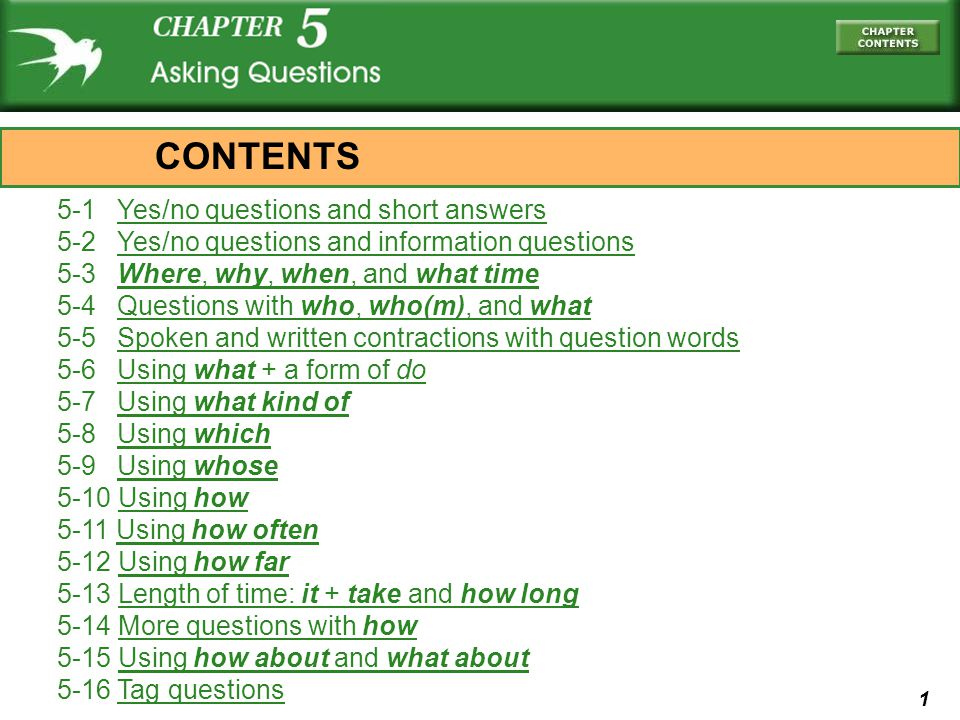 CONTENTS 5-1 Yes/no questions and short answers