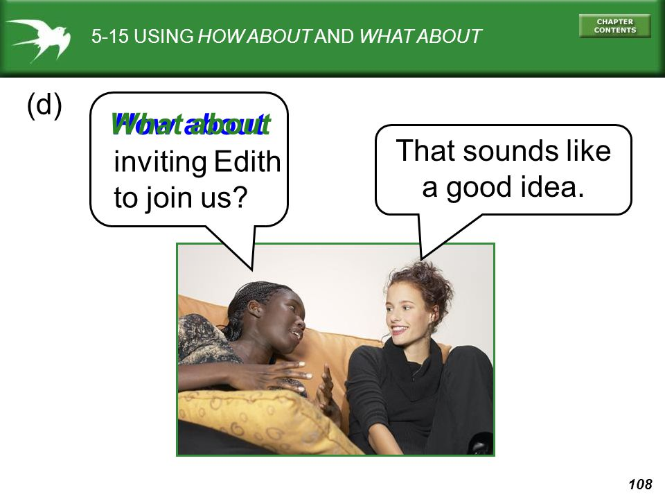 (d) What about How about That sounds like inviting Edith a good idea.