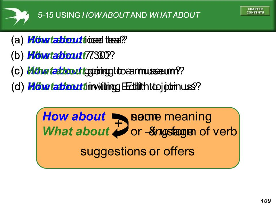 + How about What about noun or –ing form of verb same meaning & usage