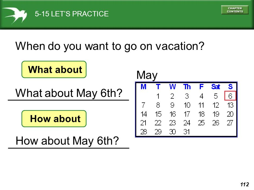 When do you want to go on vacation