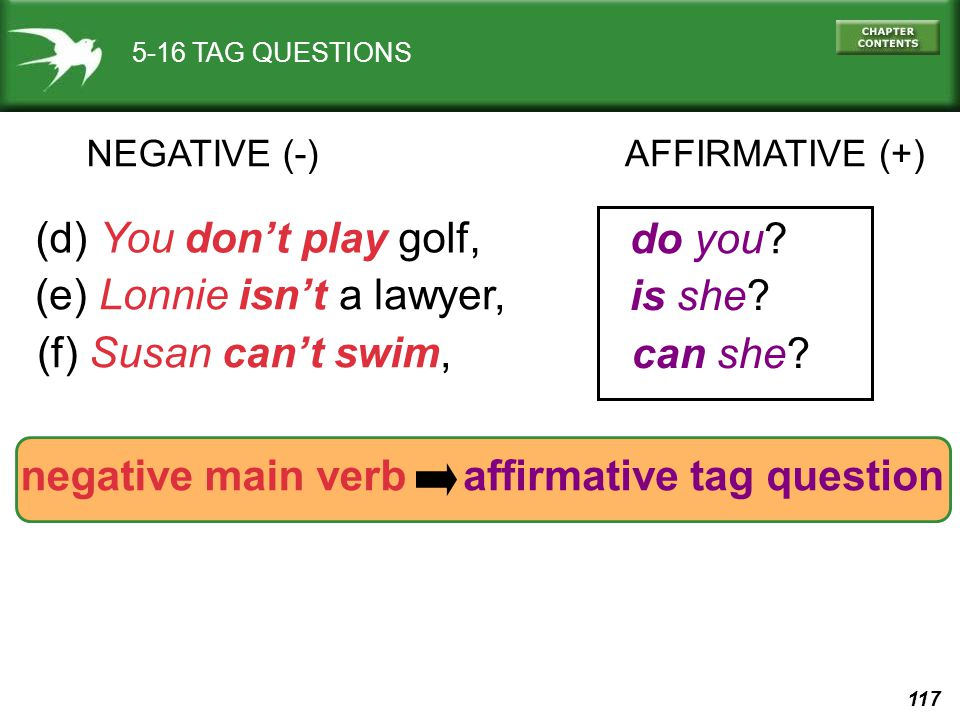 (e) Lonnie isn't a lawyer, is she (f) Susan can't swim, can she