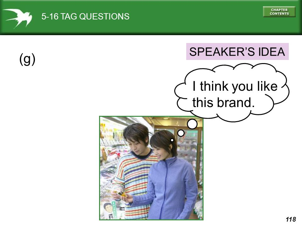 5-16 TAG QUESTIONS SPEAKER'S IDEA (g) I think you like this brand.