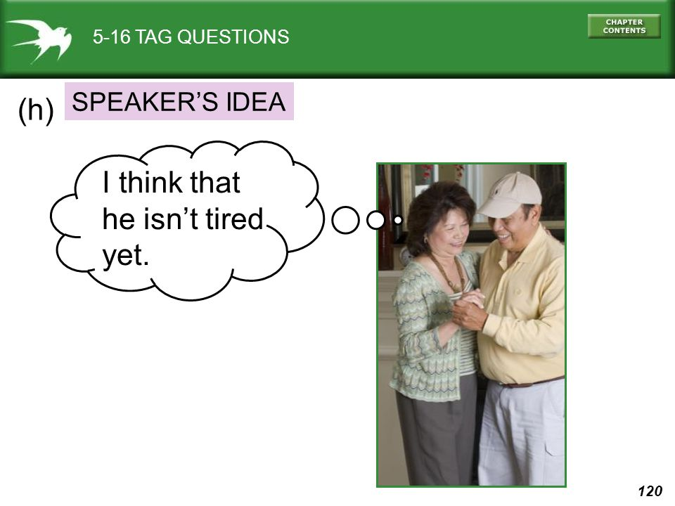 5-16 TAG QUESTIONS SPEAKER'S IDEA (h) I think that he isn't tired yet.