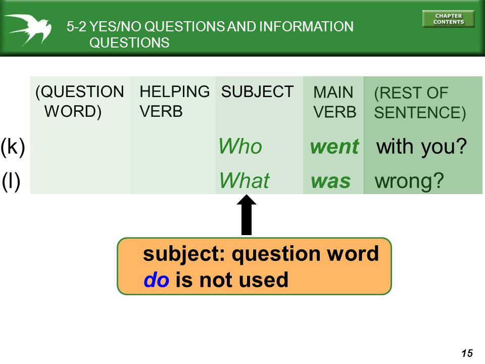 (k) Who went with you (l) What was wrong subject: question word