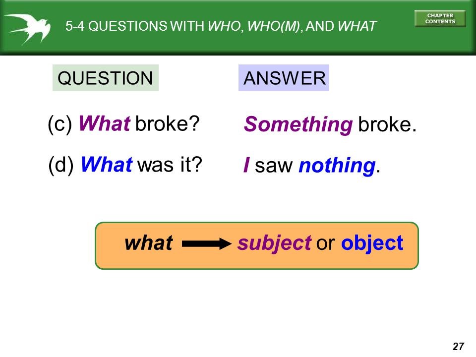(c) What broke Something broke. (d) What was it I saw nothing.