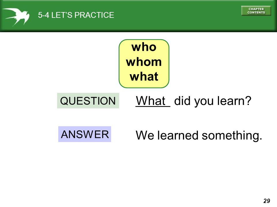 who whom what _____ What did you learn We learned something. QUESTION