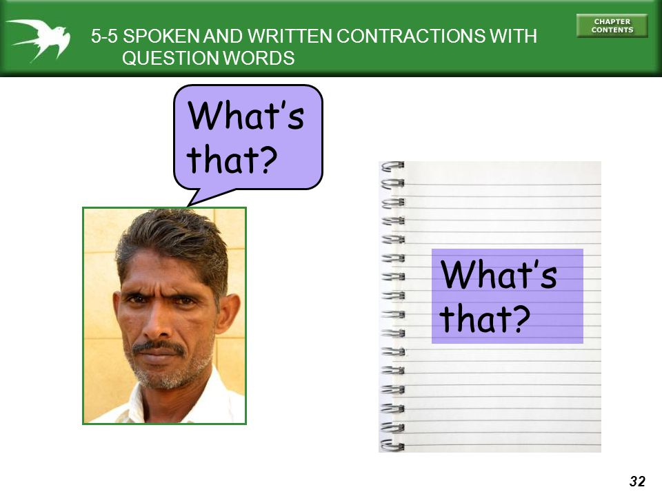 What's that What's that 5-5 SPOKEN AND WRITTEN CONTRACTIONS WITH