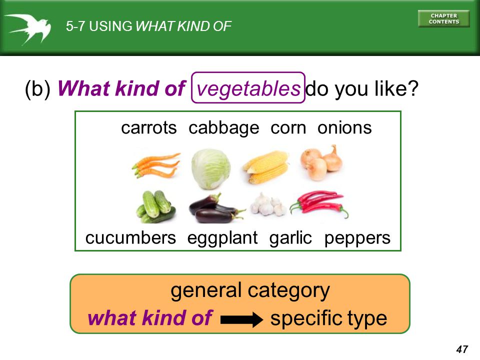 (b) What kind of vegetables do you like