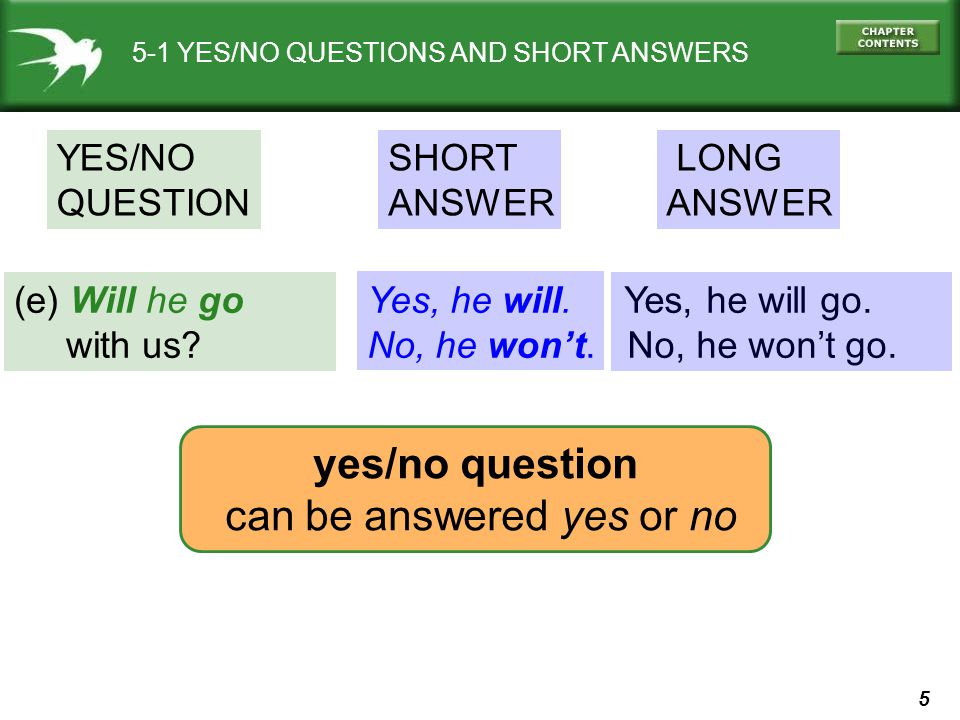 can be answered yes or no