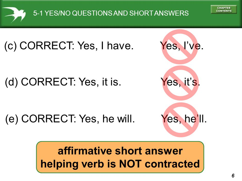 affirmative short answer helping verb is NOT contracted