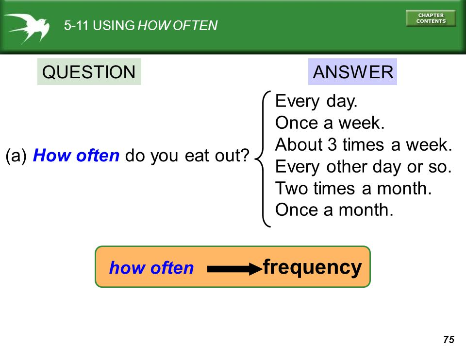 how often frequency QUESTION ANSWER Every day. Once a week.