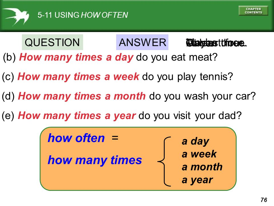 how often = how many times QUESTION ANSWER Once. Maybe once.