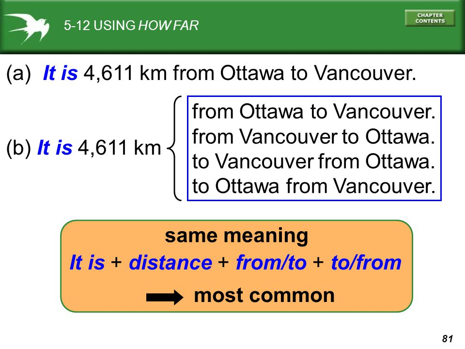 (a) It is 4,611 km from Ottawa to Vancouver.