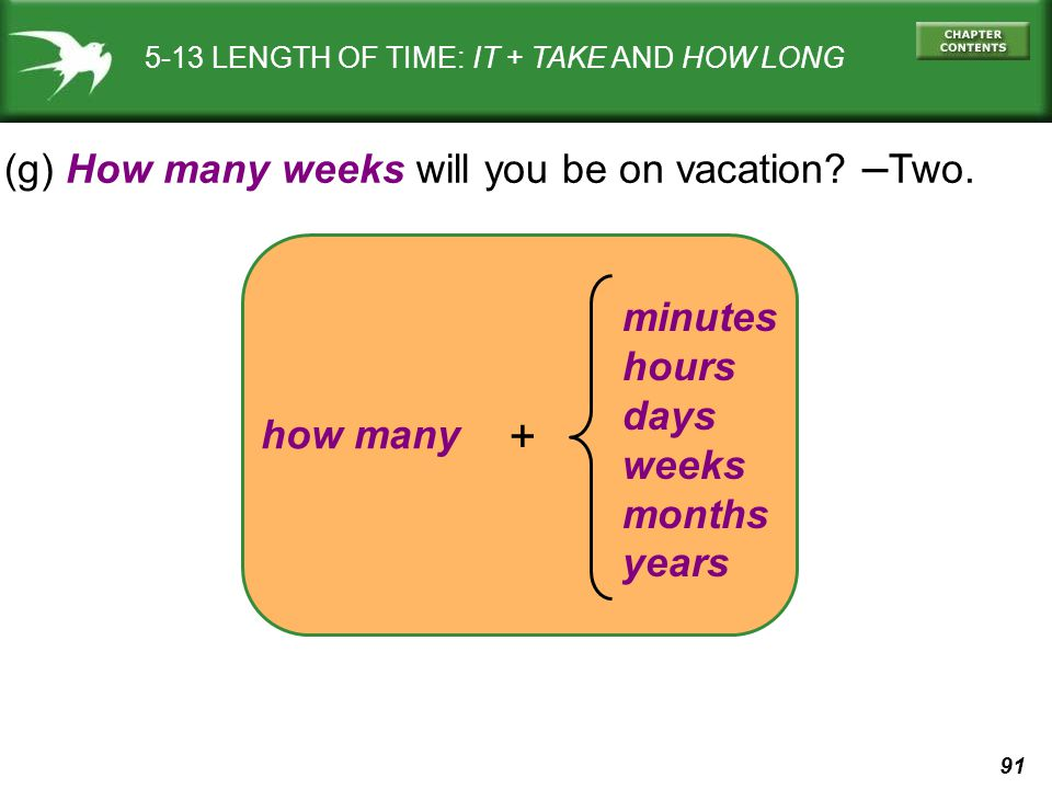 + (g) How many weeks will you be on vacation –Two. minutes hours days