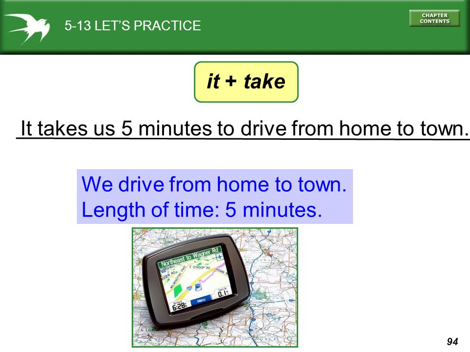 It takes us 5 minutes to drive from home to town.