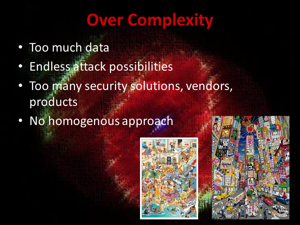 Over Complexity Too much data Endless attack possibilities