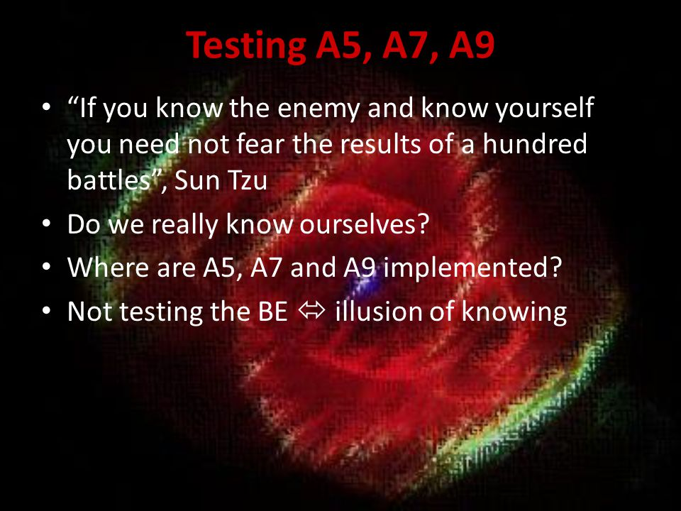 Testing A5, A7, A9 If you know the enemy and know yourself you need not fear the results of a hundred battles , Sun Tzu.