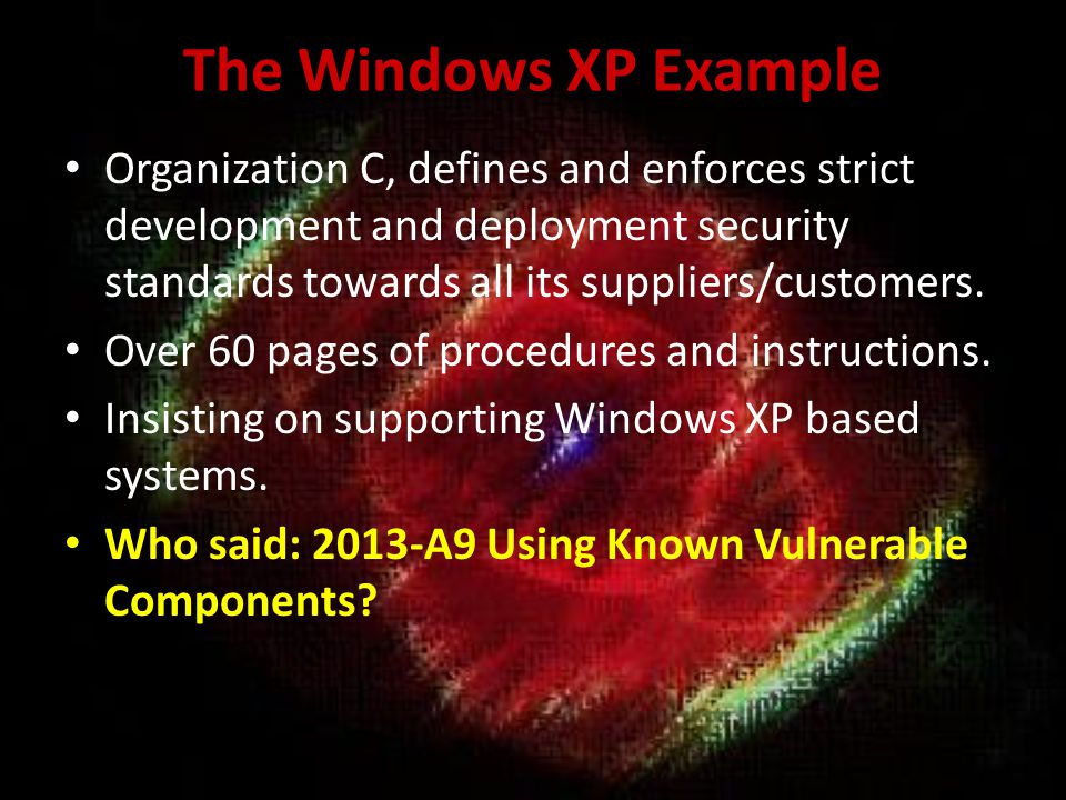 The Windows XP Example Organization C, defines and enforces strict development and deployment security standards towards all its suppliers/customers.