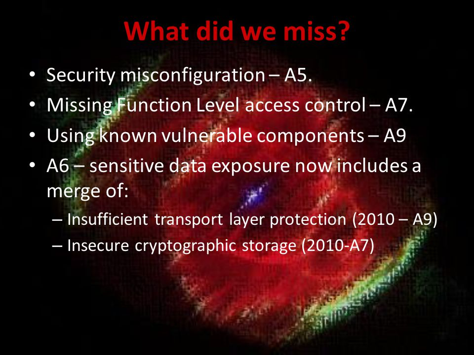 What did we miss Security misconfiguration – A5.