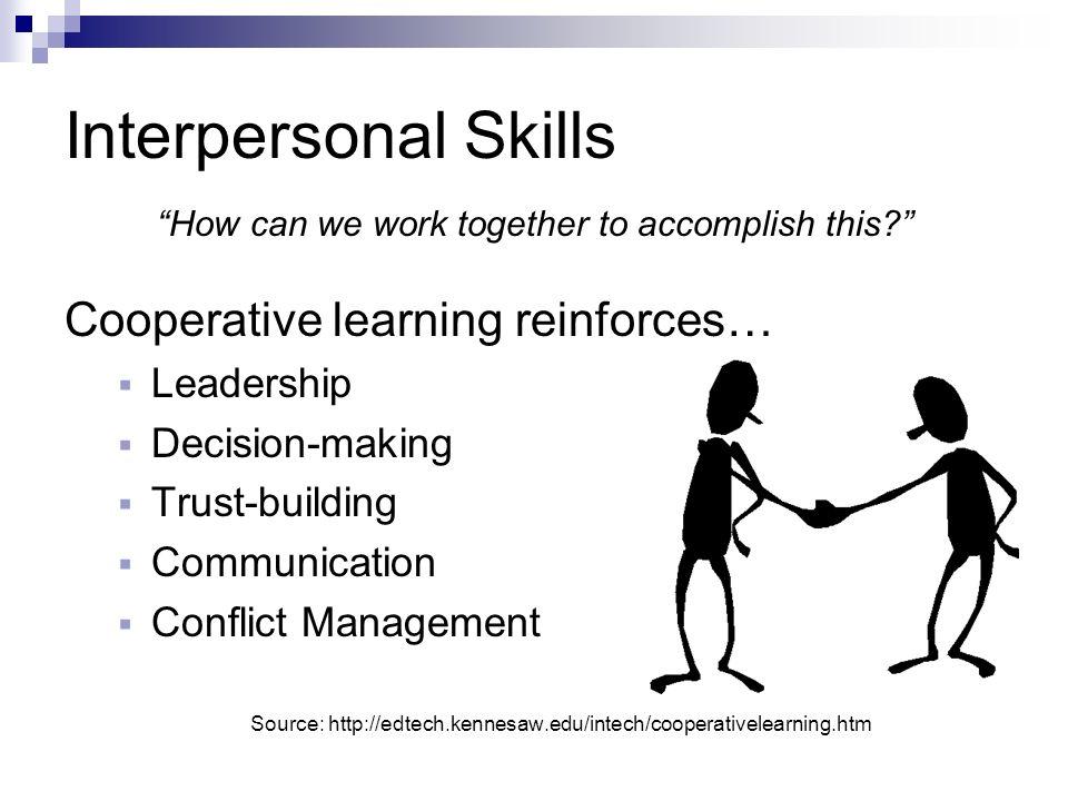 Interpersonal Skills Cooperative learning reinforces… Leadership