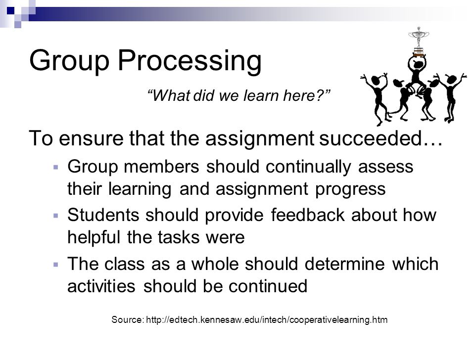 Group Processing To ensure that the assignment succeeded…