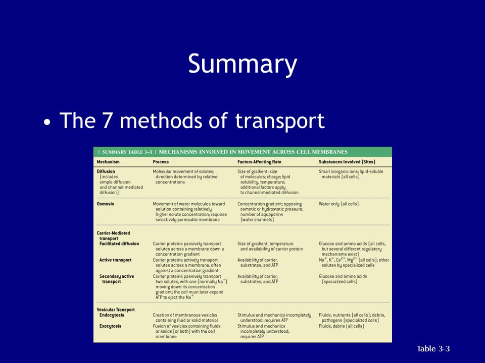 Summary The 7 methods of transport Table 3–3