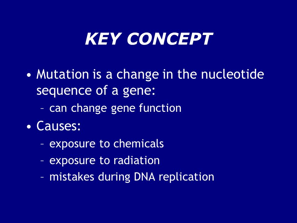 KEY CONCEPT Mutation is a change in the nucleotide sequence of a gene: