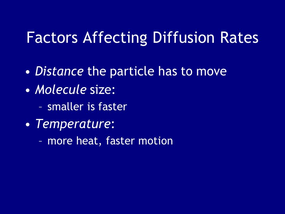 Factors Affecting Diffusion Rates