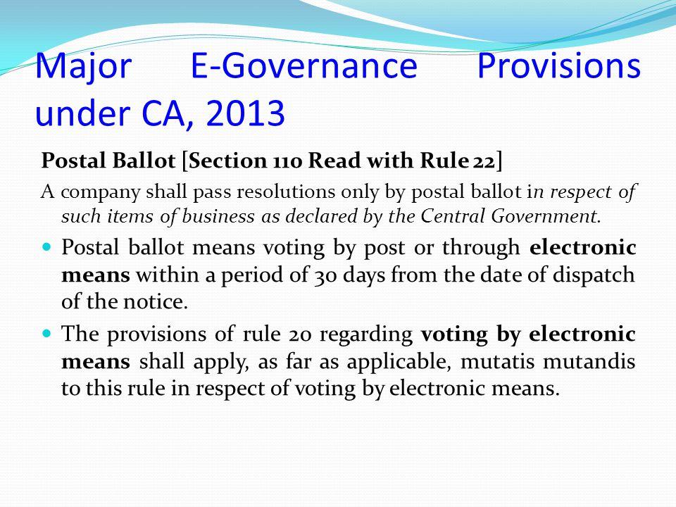 Major E-Governance Provisions under CA, 2013