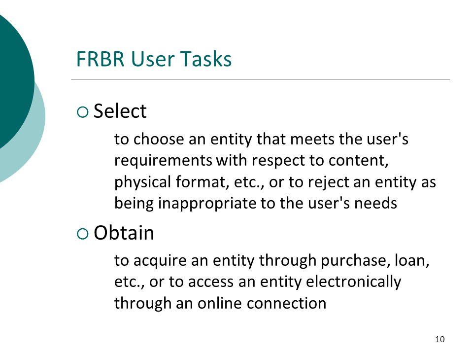 FRBR User Tasks Select Obtain