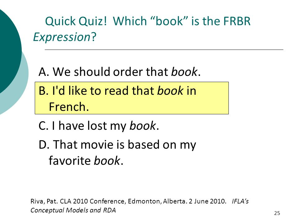 Quick Quiz! Which book is the FRBR Expression