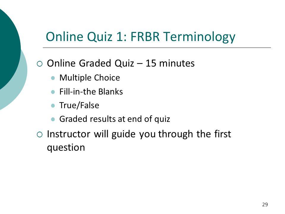 Online Quiz 1: FRBR Terminology
