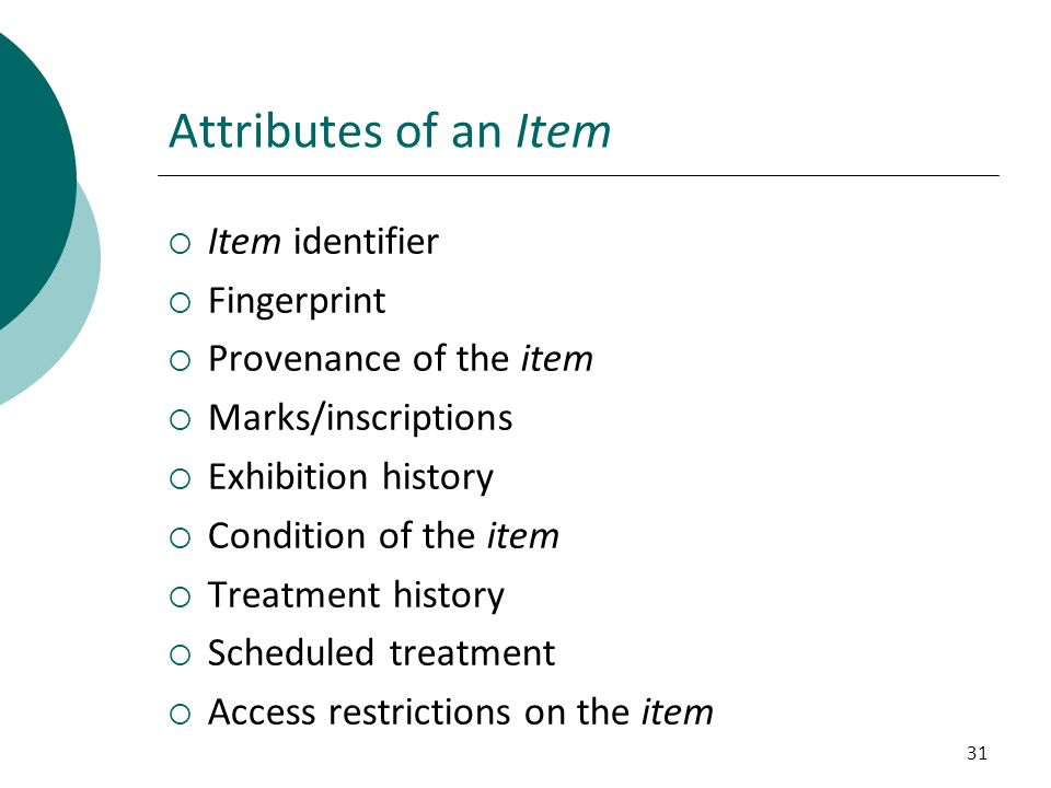 Attributes of an Item Item identifier Fingerprint