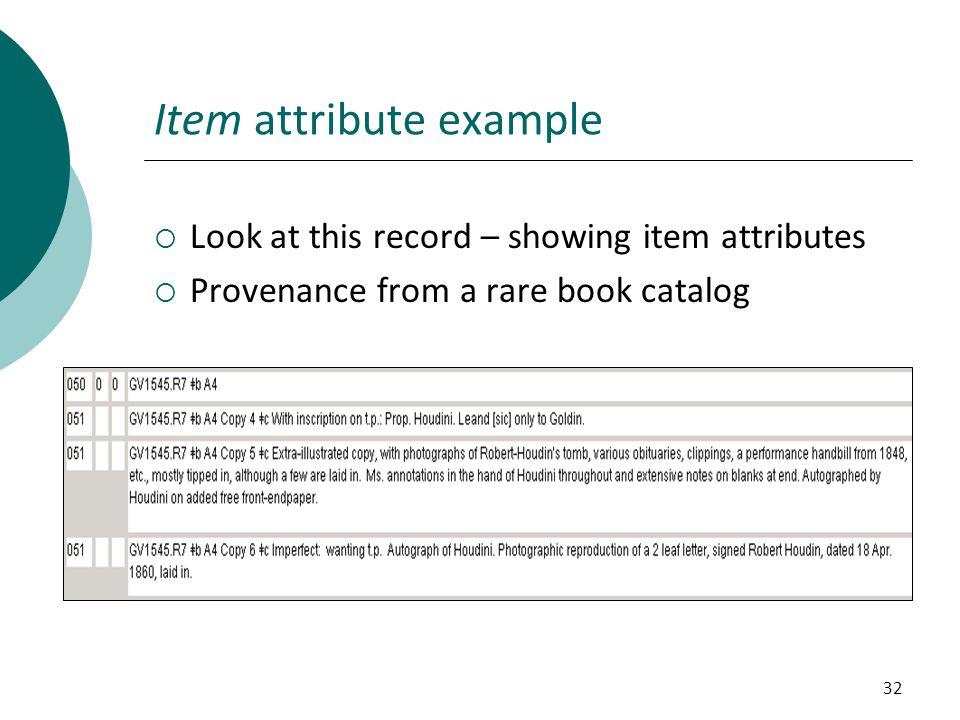 Item attribute example