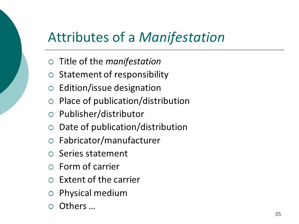 Attributes of a Manifestation