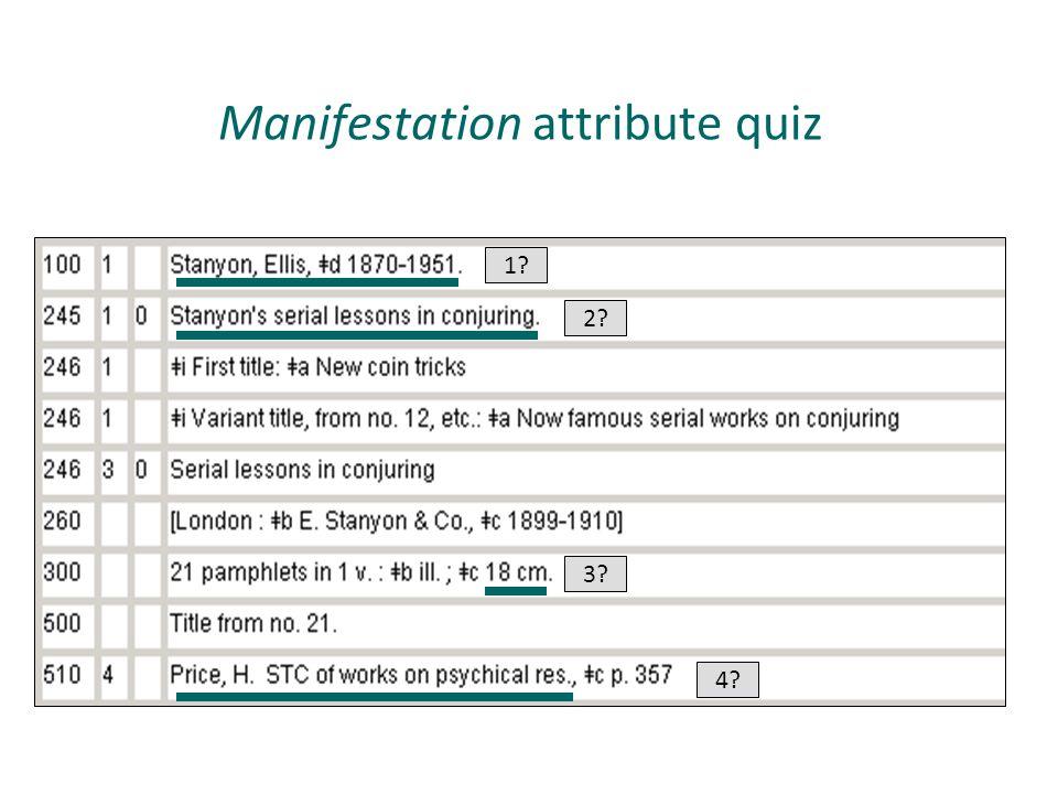 Manifestation attribute quiz