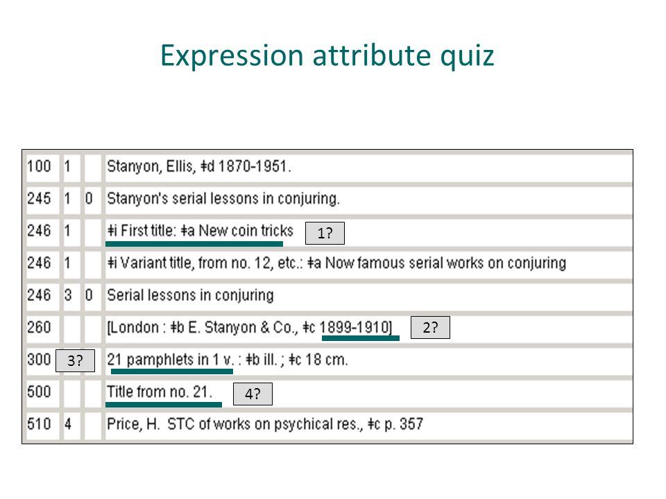 Expression attribute quiz