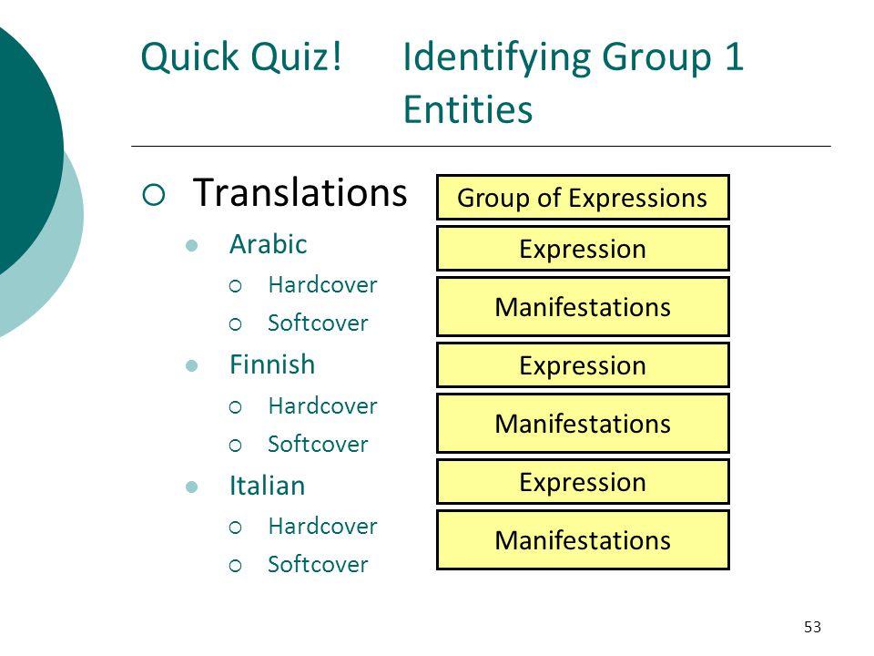 Quick Quiz! Identifying Group 1 Entities