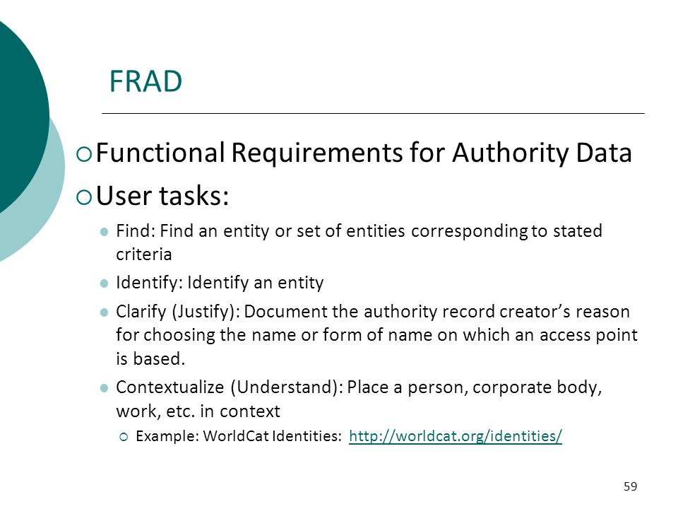 FRAD Functional Requirements for Authority Data User tasks:
