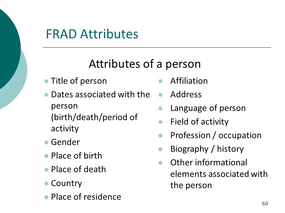 FRAD Attributes Attributes of a person Title of person