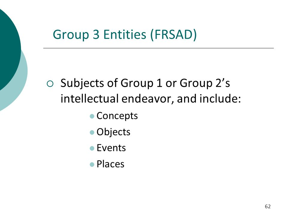 Group 3 Entities (FRSAD)