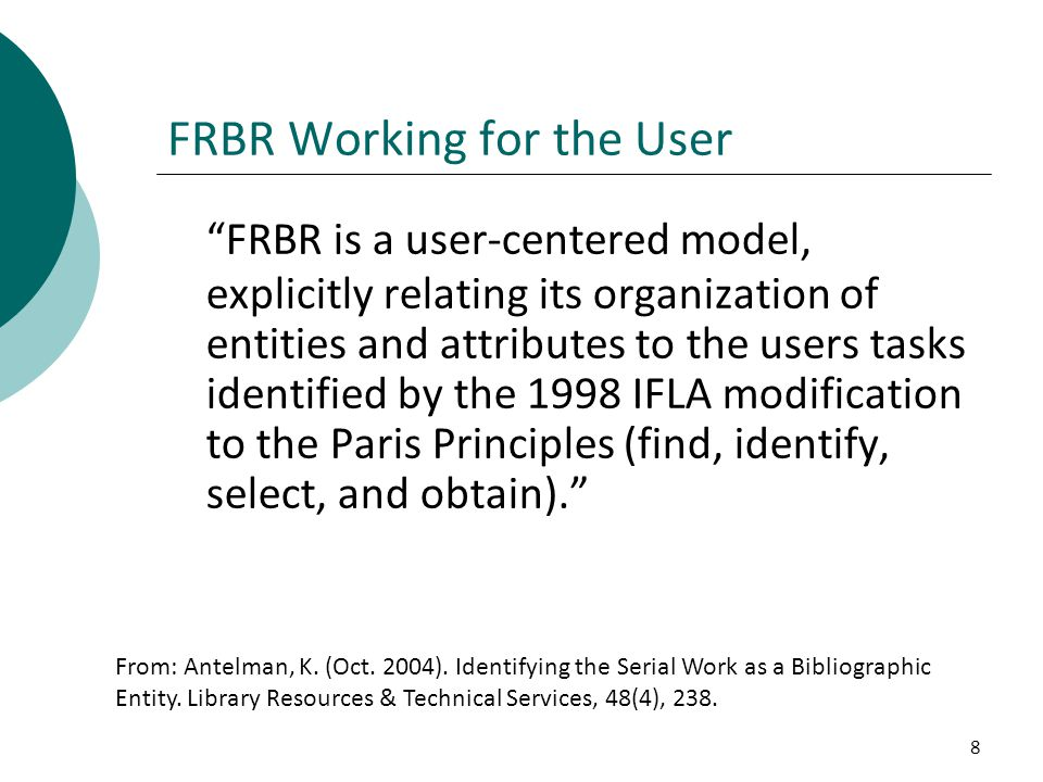 FRBR Working for the User