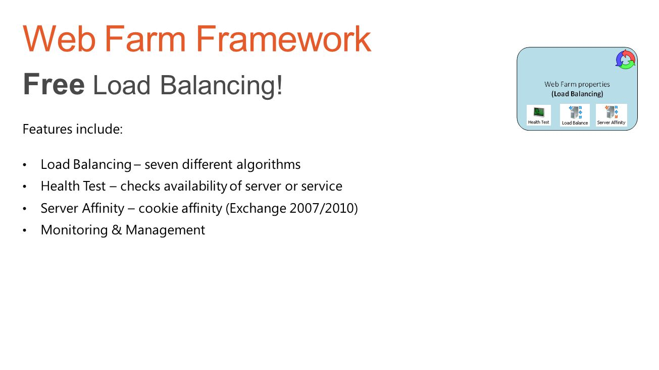 Web Farm Framework Free Load Balancing! Features include: