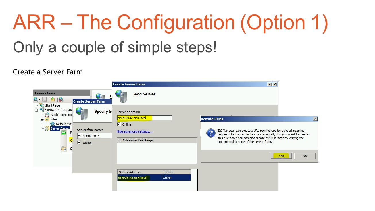 ARR – The Configuration (Option 1)