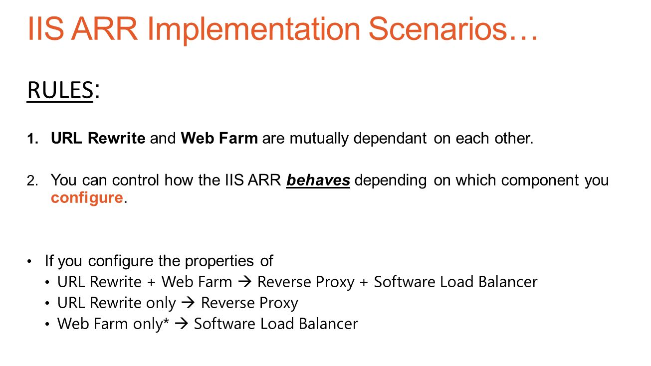IIS ARR Implementation Scenarios…