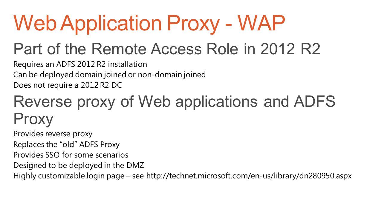 Web Application Proxy - WAP