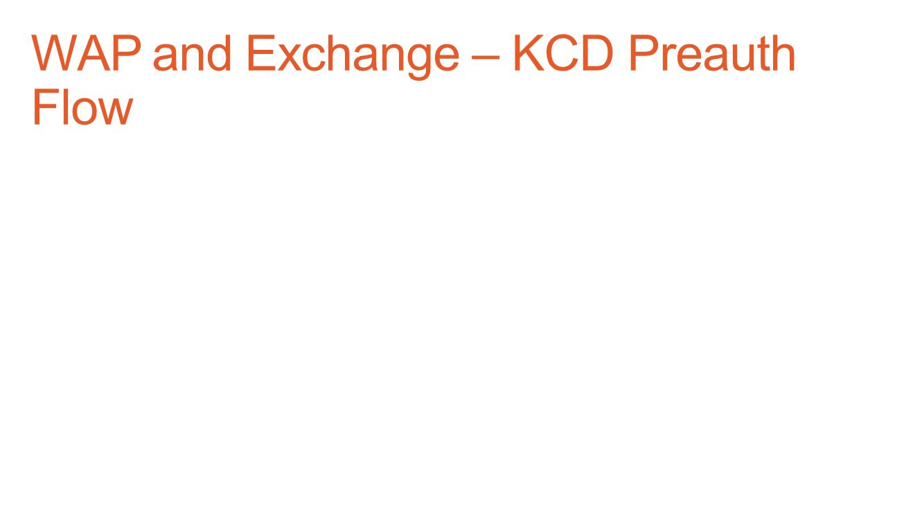 WAP and Exchange – KCD Preauth Flow