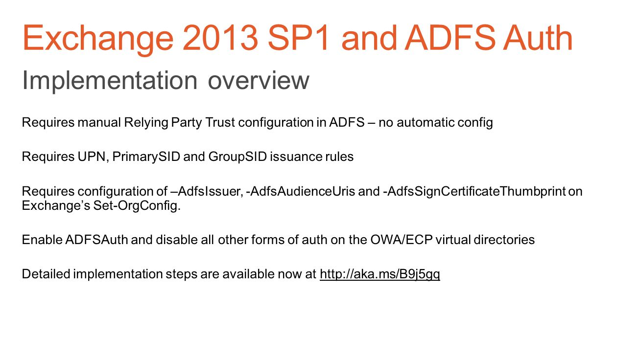 Exchange 2013 SP1 and ADFS Auth