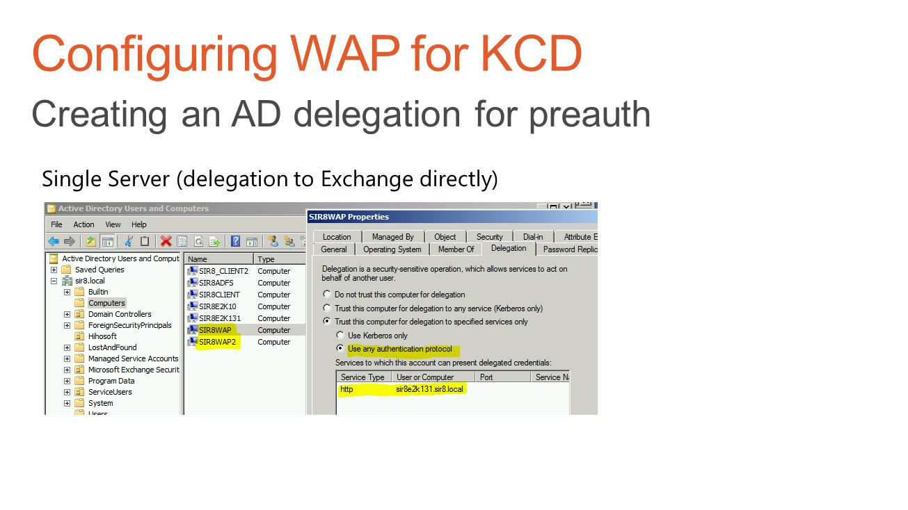 Configuring WAP for KCD